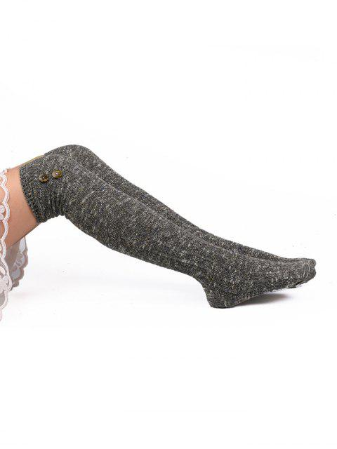 lady Vintage Button Colormix High Knee Socks - GRAY  Mobile