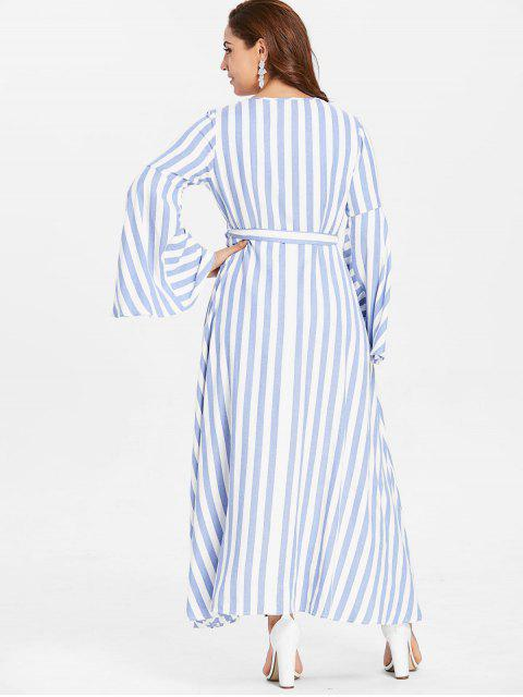 best ZAFUL Plus Size Flare Sleeve Wrap Striped Dress - LIGHT BLUE 4X Mobile