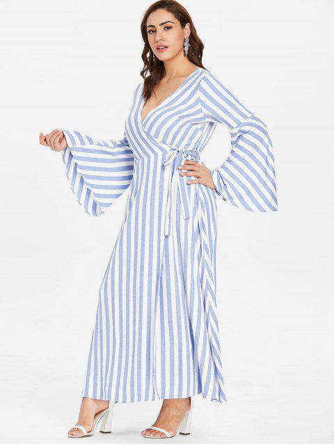 online ZAFUL Plus Size Flare Sleeve Wrap Striped Dress - LIGHT BLUE 3X Mobile