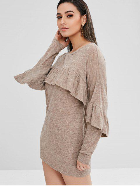 affordable ZAFUL Ruffles Long Sleeve Shift Dress - LIGHT KHAKI XL Mobile