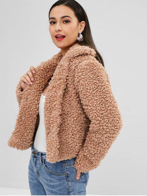 ZAFUL Fluffy Faux Fur Short Winter Teddy Coat - Tan XL Mobile