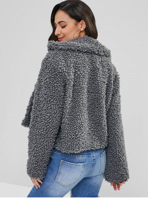 affordable ZAFUL Fluffy Faux Fur Short Winter Teddy Coat - DARK GRAY XL Mobile
