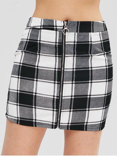 ZAFUL Minifalda de felpa a cuadros con cremallera - Negro S Mobile