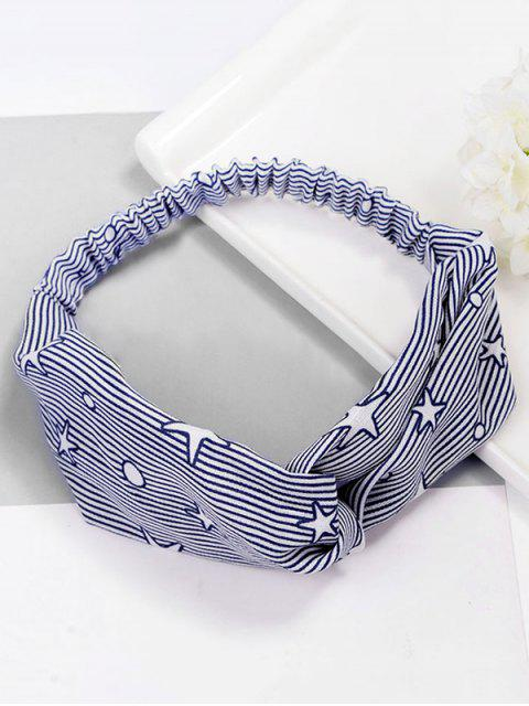 Stylish Stripe Star Elastisches Haarband - Blau  Mobile