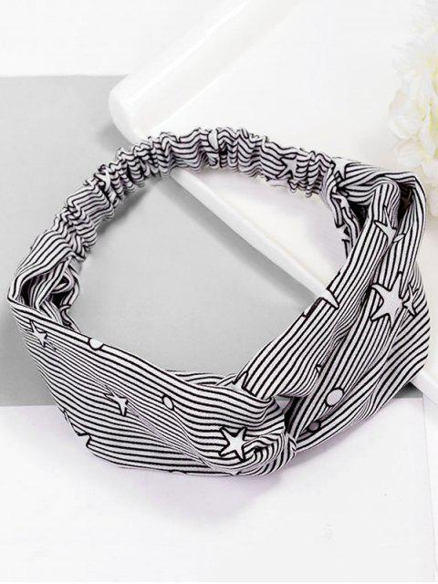 Stylish Stripe Star Elastisches Haarband - Schwarz  Mobile
