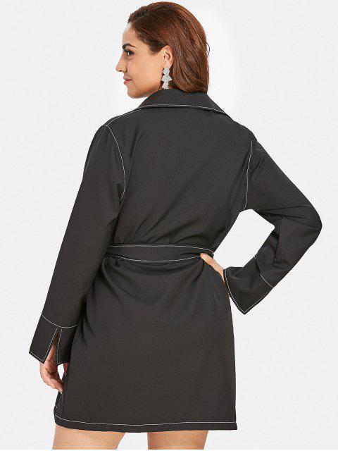 latest ZAFUL Button Up Plus Size Shirt Dress - BLACK 2X Mobile