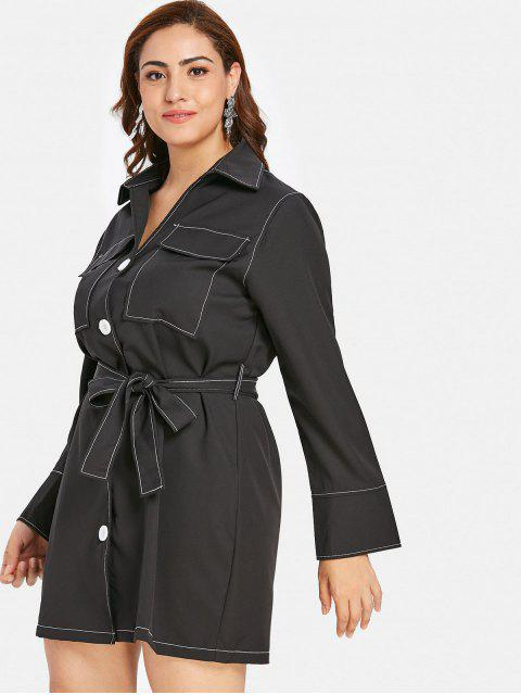 fashion ZAFUL Button Up Plus Size Shirt Dress - BLACK 4X Mobile