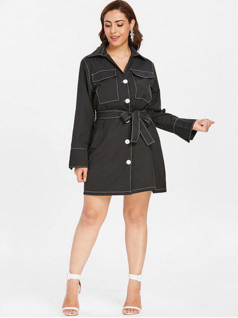 fashion ZAFUL Button Up Plus Size Shirt Dress - BLACK 4X Mobile