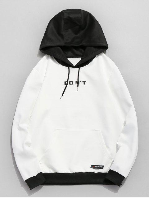 womens Contrast Color Letter Pocket Hoodie - WHITE S Mobile