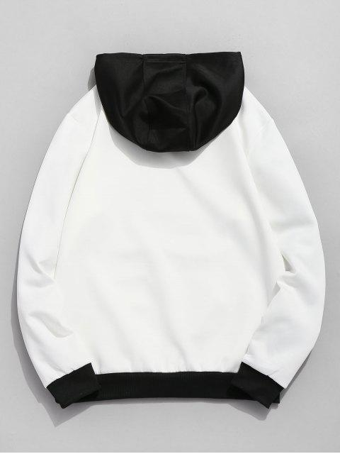 fancy Contrast Color Letter Pocket Hoodie - WHITE M Mobile