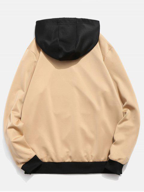 online Contrast Color Letter Pocket Hoodie - KHAKI L Mobile