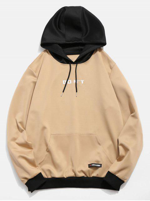 online Contrast Color Letter Pocket Hoodie - KHAKI L Mobile