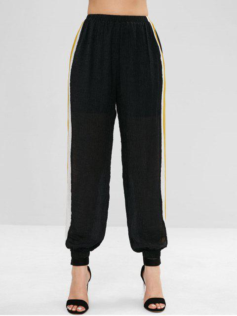 buy ZAFUL Side Stripe Crinkled Joggers Pants - BLACK L Mobile