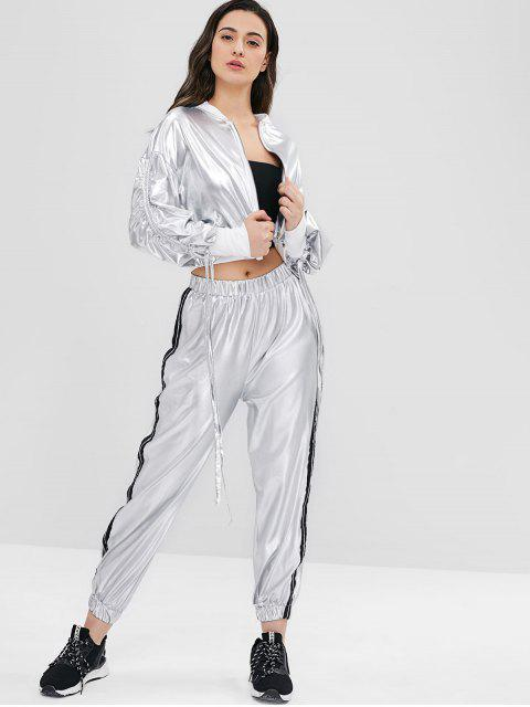 Drop Shoulder Kordelzug Metallic Jacke - Silber L Mobile