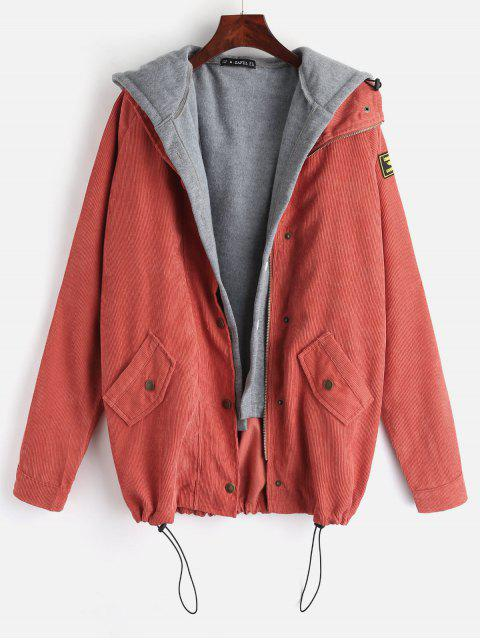 ZAFUL Fleece Weste und Cordjacke Twinset - Sonneaufgang Orange L Mobile