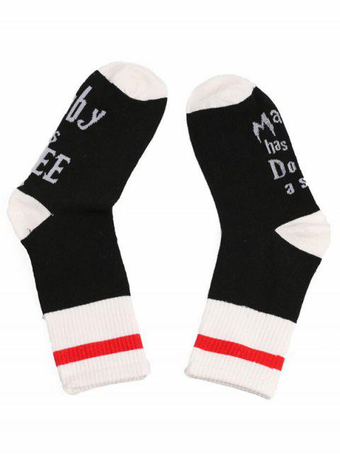 womens Fun Letter Printed Medium Socks - BLACK  Mobile