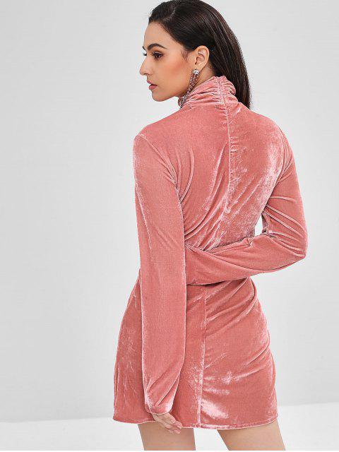 ZAFUL Robe Tordu en Avant à Col Roulé en Velours - Rose Flamant M Mobile