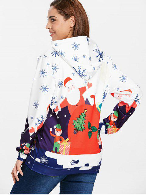 Plus Size Big Pocket Christmas Hoodie - 白色 L Mobile