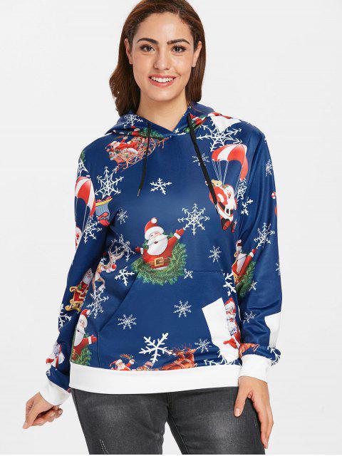Plus Size Santas Snowflake Print Christmas Hoodie - 藍色 1X Mobile