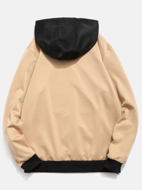 ladies Contrast Color Letter Pocket Hoodie - KHAKI S Mobile