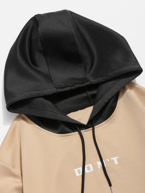 Kontrast Hoodie mit Buchstabendruck in der Tasche - Khaki M Mobile