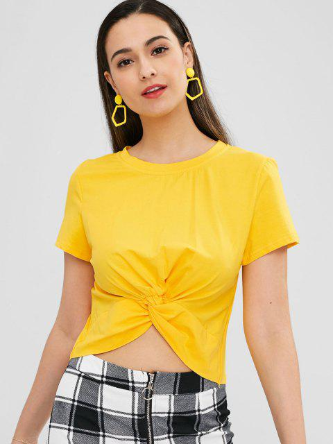 fancy Smile Face Print Graphic Cropped Twisted Tee - BRIGHT YELLOW S Mobile