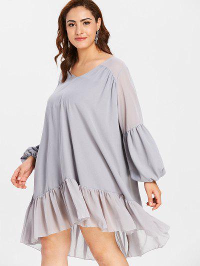 62a21a8b2ab ... ZAFUL Plus Size Lantern Sleeve Flounce Dress - Blue Gray 2x