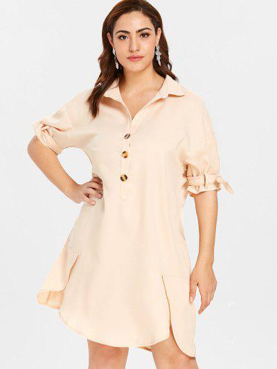 68596fbf4fa ZAFUL Plus Size Shift Buttoned Shirt Dress - Blanched Almond L ...