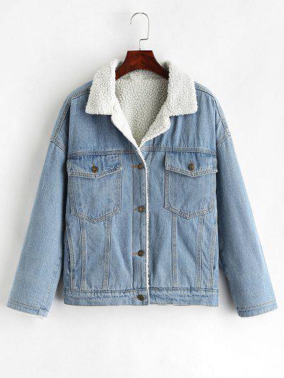 Drop Shoulder Fleece Denim Jacket - Denim Blue Xl