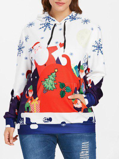 Plus Size Big Pocket Christmas Hoodie - White 1x
