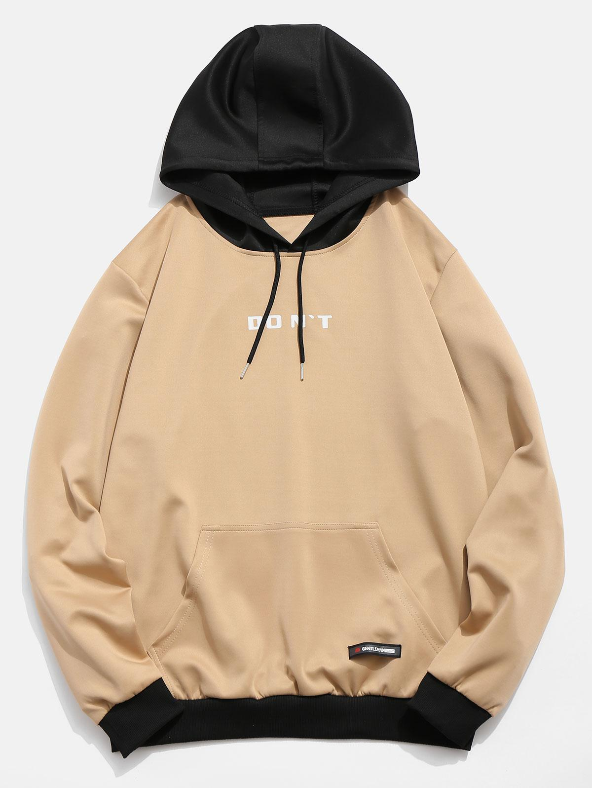 Contrast Color Letter Pocket Hoodie фото