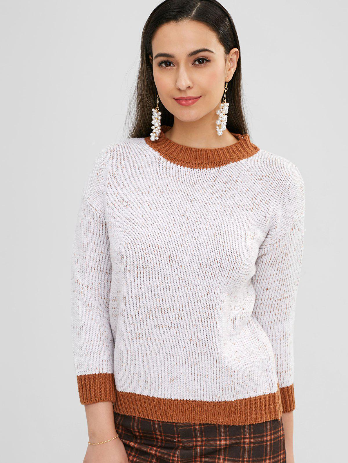 Contrast Heathered Sweater