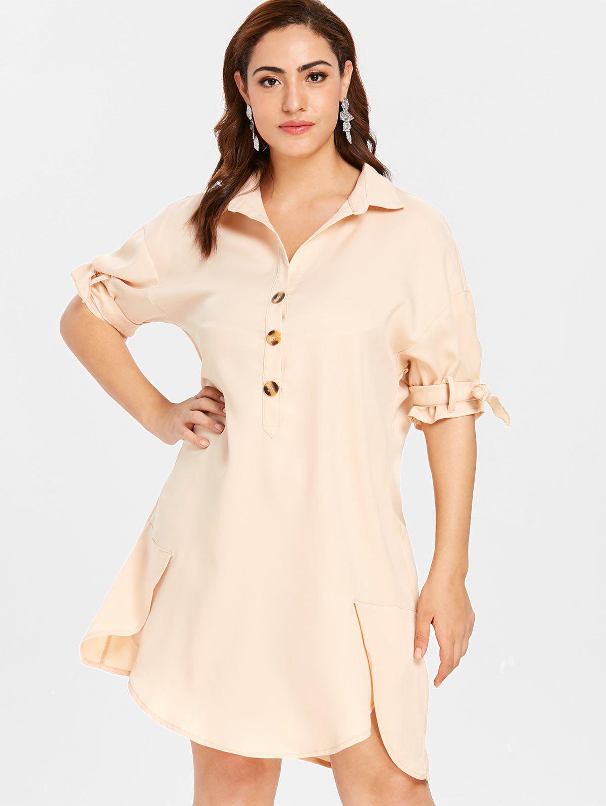 ZAFUL Plus Size Shift Buttoned Shirt Dress, Blanched almond