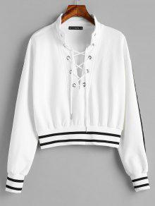 ZAFUL Stripes Lace Up Sweatshirt - أبيض M