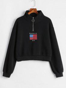 العلم الأميركي الرمز البريدي موك الرقبة البلوز - أسود L