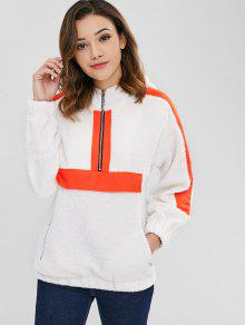 ZAFUL Contrasting Panels Fluffy Borg Hooodie - أبيض M