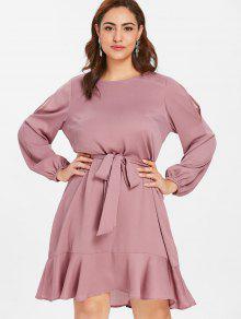 ZAFUL Belted Plus Size ترتد اللباس - أحمر الشفاه الوردي L