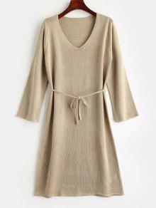 فستان حزام الحزام - ضوء الكاكي L