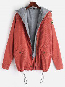 ZAFUL Fleece Vest And Corduroy Jacket Twinset - الشروق البرتقال S