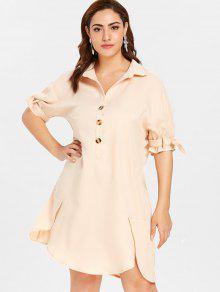 ZAFUL بالاضافة الى حجم التحول زر قميص اللباس - بلانشيد اللوز 3x