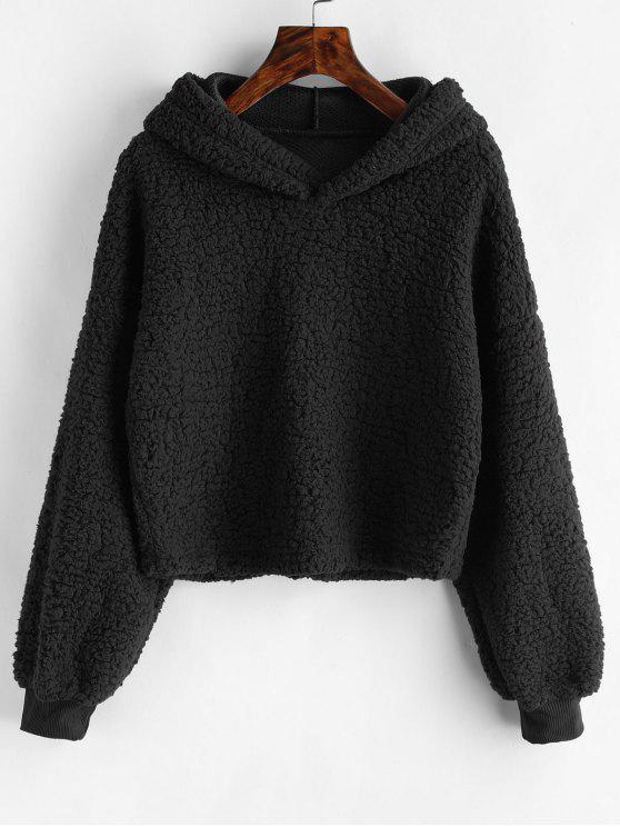 Sudadera con capucha de piel sintética suelta - Negro XL