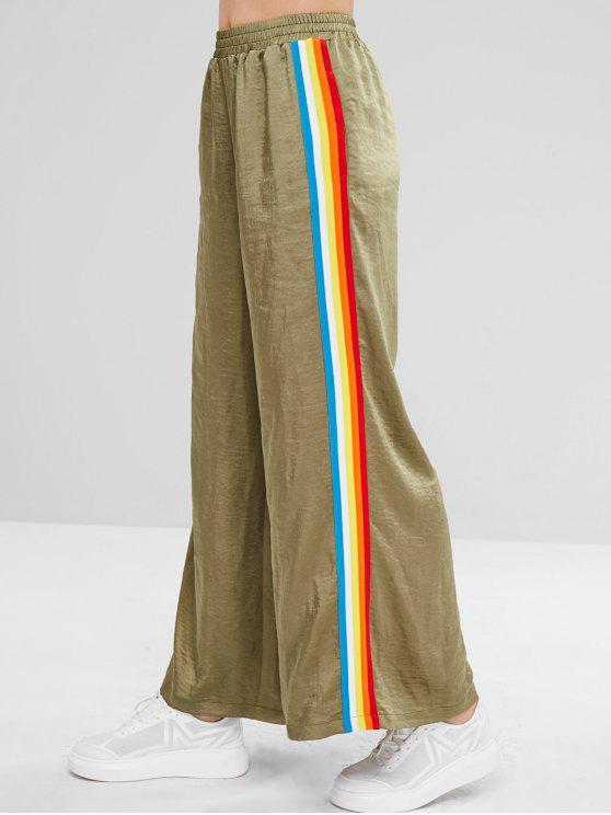 hot ZAFUL Rainbow Striped Wide Leg Pants - FERN GREEN S