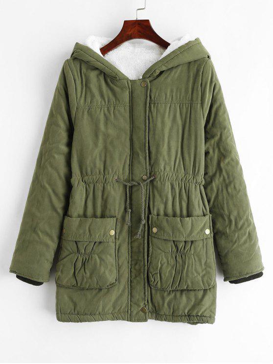 fashion Fleece Hooded Pocket Coat - CAMOUFLAGE GREEN L