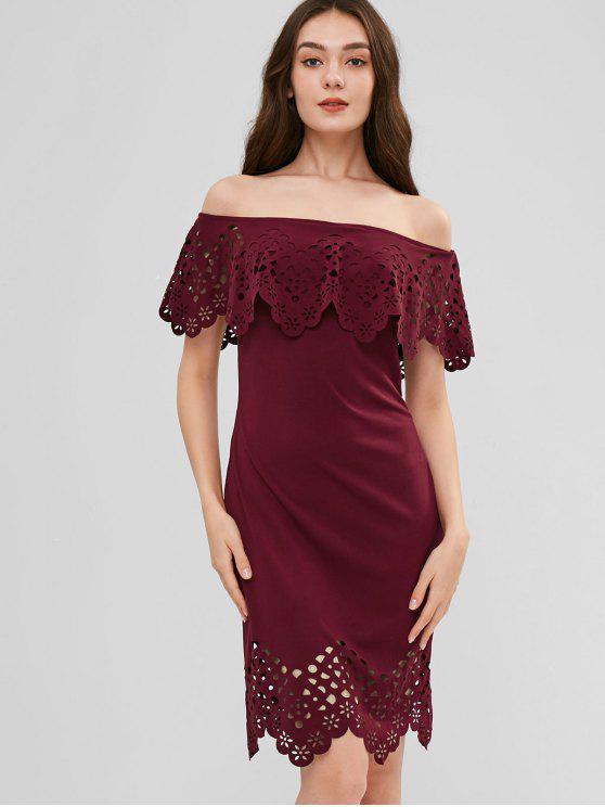 chic Off Shoulder Laser Cut Dress - FIREBRICK L