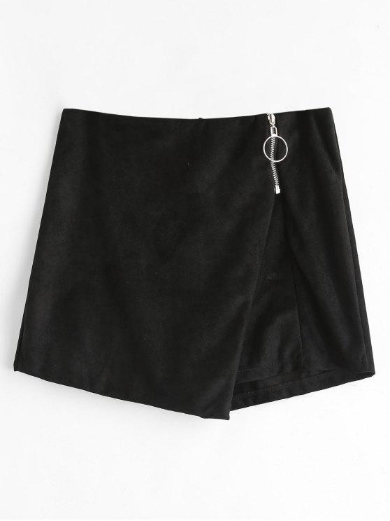 Zipper Shorts asimétricos adornados - Negro S