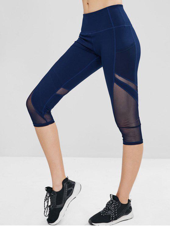 Leggings Sportivi Con Tasca Nascosta E Inserti In Tulle - Cadetto blu L
