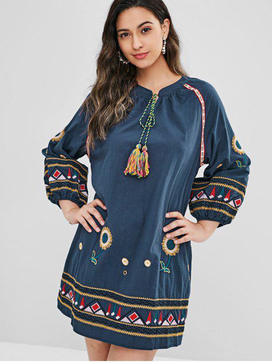 trendy Embroidered Tassel Raglan Sleeves Shift Dress - CADETBLUE ONE SIZE