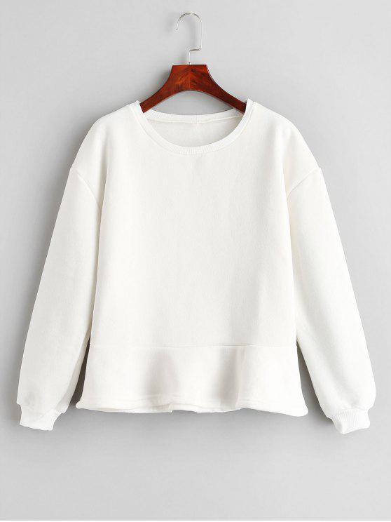 fashion Solid Color Loose Sweatshirt - WHITE M