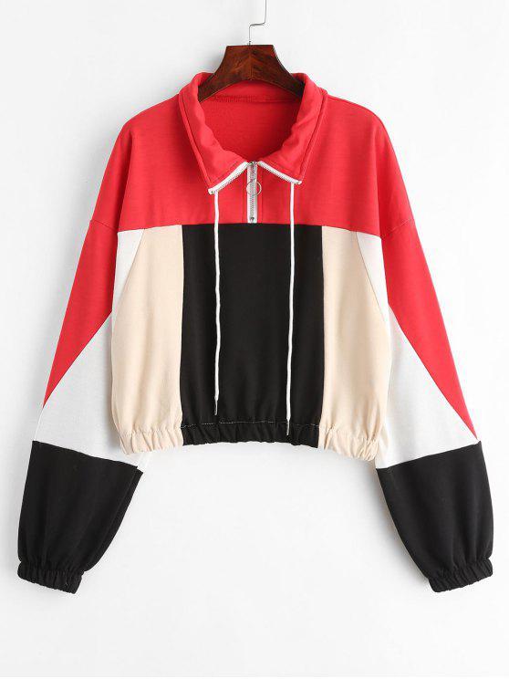 buy Color Block Half Zip Drawstring Sweatshirt - MULTI S