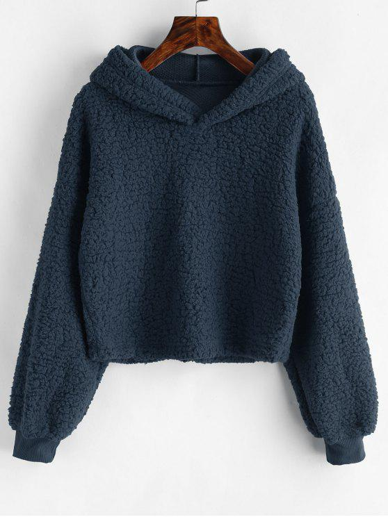 outfits Loose Fit Faux Fur Hoodie - CADETBLUE M